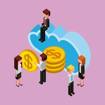 Biznesmeni cloud computing przechowywania pieniędzy
