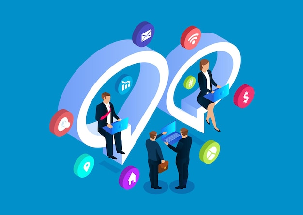 Biznesmeni czat online dyskusja sieci społecznościowych ilustracji