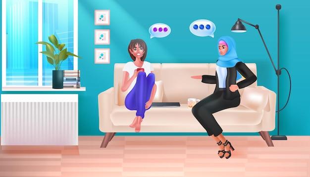 Biznesmeni dyskutują podczas spotkania koncepcja komunikacji bąbelkowej na czacie wnętrze biurowe poziome