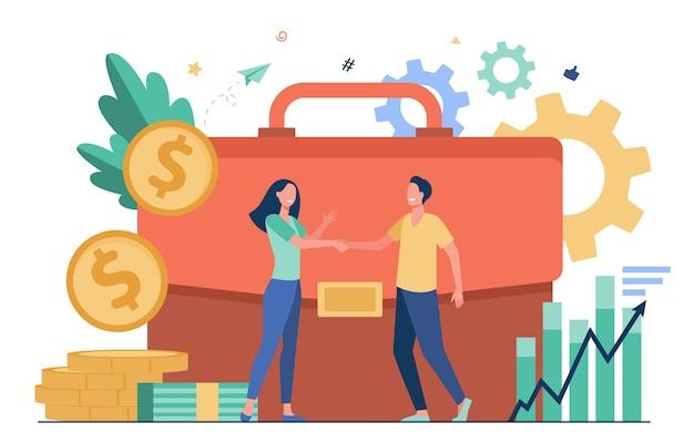 Biznesmeni, finansowanie lub inwestowanie pieniędzy i uścisk dłoni płaskiej ilustracji wektorowych. inwestorzy z kreskówek biorący kredyty na inwestycje. koncepcja partnerstwa, transakcji pieniężnych i wyzwanie biznesowe