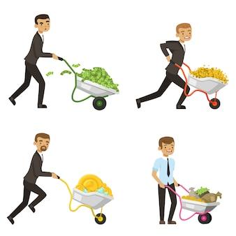 Biznesmeni jeżdżą taczki z pieniędzmi