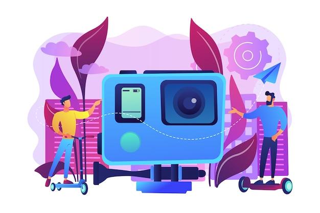 Biznesmeni jeżdżący na skuterze elektrycznym i deskorolce w mieście. miejski transport elektryczny, deskorolka elektryczna z hulajnogą elektryczną, nowoczesna koncepcja stylu życia miejskiego.