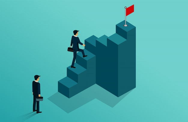 Biznesmeni konkurują iść do celu czerwona flaga na schodach.
