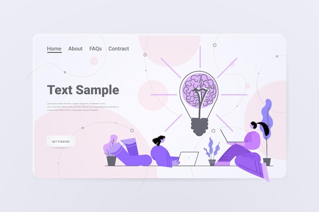 Biznesmeni korzystający z laptopów w pobliżu lampy z ludzkim mózgiem burza mózgów udana praca zespołowa kreatywna inspiracja biznesowa na wielki pomysł