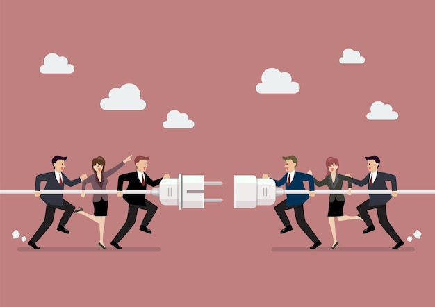 Biznesmeni łączący trzymają wtyczkę i ujście w ręce