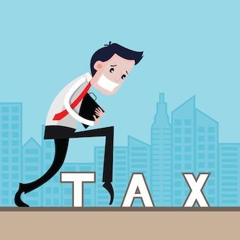 Biznesmeni na palcach unikanie podatków, koncepcja biznesowa, kreskówka wektor