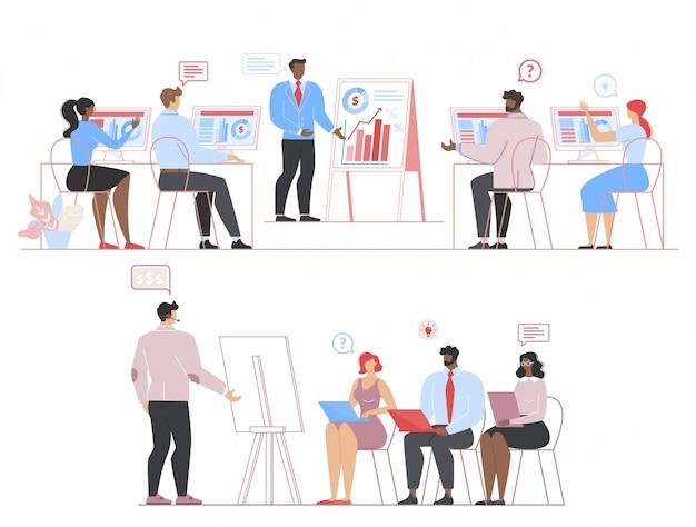 Biznesmeni na spotkanie, odprawa, zestaw coachingowy