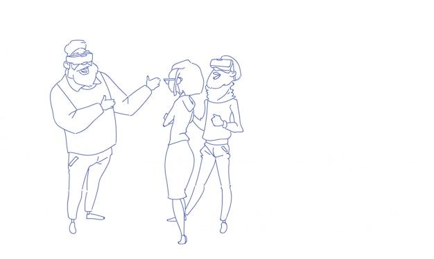Biznesmeni noszą cyfrowe okulary rzeczywistości wirtualnej wizji spotkanie grupy ludzi szkic szkic doodle