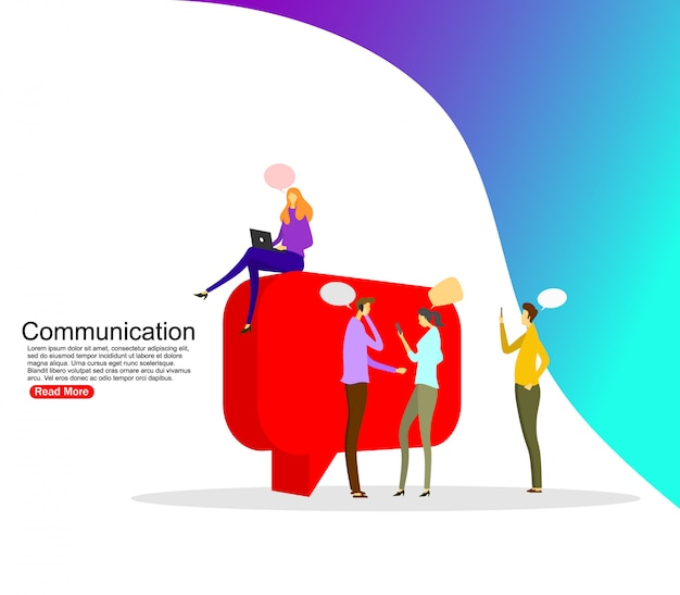 Biznesmeni omawiają sieć społecznościową, wiadomości, sieci społecznościowe, czat, dialog. szablon