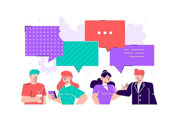Biznesmeni omawiają sieci społecznościowe, aktualności, sieci społecznościowe, czat, dymki z dialogami.