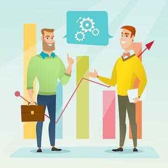 Biznesmeni omawiający analizę rynku.