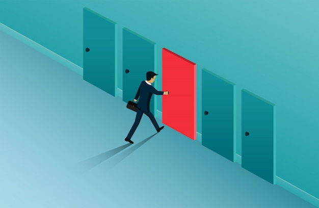 Biznesmeni otwierają drzwi wyboru, ścieżkę, szansę na sukces.