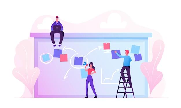 Biznesmeni planowanie prac nad porządkiem obrad tablica zadań z karteczkami samoprzylepnymi stojącymi na drabinie. płaskie ilustracja kreskówka