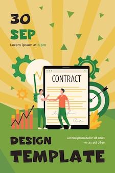 Biznesmeni podpisują umowę z podpisem elektronicznym płaski szablon ulotki