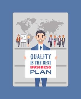 """Biznesmeni posiadający afisz z tekstem """"jakość to najlepszy biznesplan"""""""