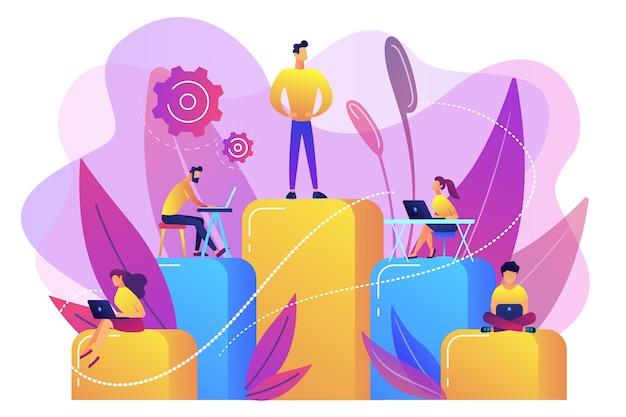 Biznesmeni pracują z laptopami na kolumnach wykresów. hierarchia biznesowa, organizacja hierarchiczna, poziomy koncepcji hierarchii
