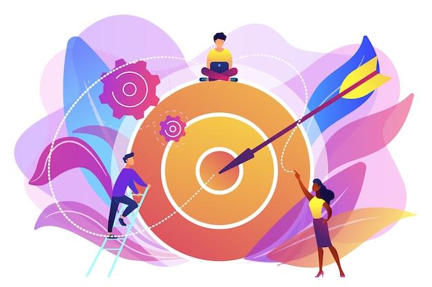 Biznesmeni pracujący i kobieta na duży cel ze strzałką. cele i zadania, rozwój firmy i planowanie, koncepcja wyznaczania celów