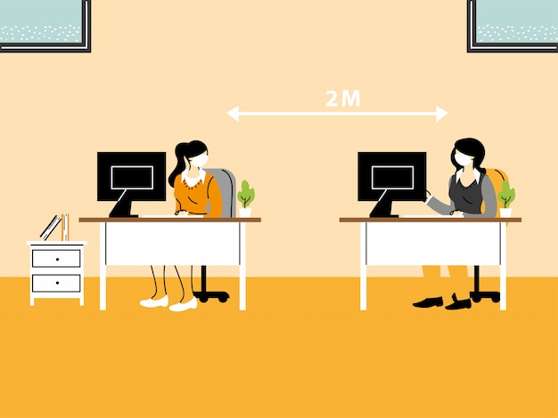 Biznesmeni pracujący w biurze i utrzymujący dystans społeczny, noszą maski, aby zapobiec rozprzestrzenianiu się wirusa