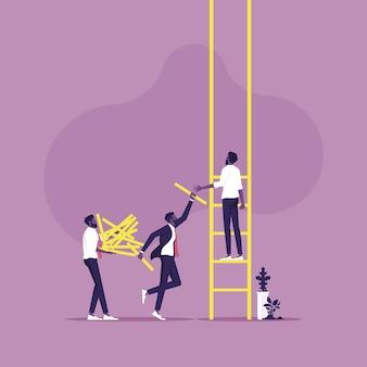 Biznesmeni pracujący zespołowo, aby zbudować drabinę sukcesu symbol pracy zespołowej i sukcesu
