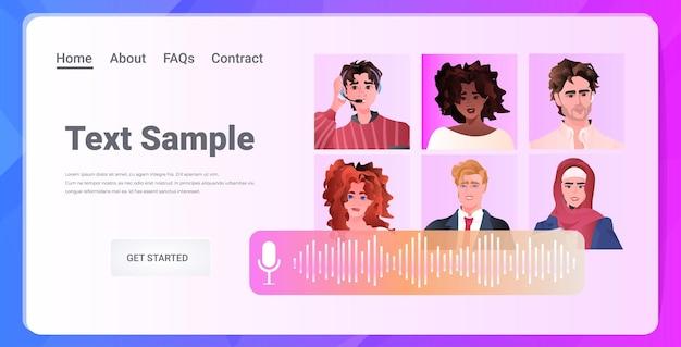 Biznesmeni rasy mieszanej omawiający podczas rozmowy wideo wirtualna konferencja komunikacja online koncepcja samoizolacji ilustracja pozioma kopia przestrzeń