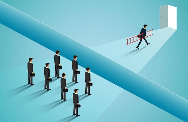 Biznesmeni rywalizują, podchodzą do drzwi z przeszkodami, klify blokują ścieżkę