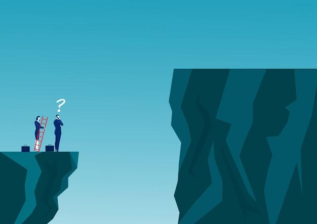 Biznesmeni rywalizują w poprzek klifu do celu naprzeciwko schodów, które prowadzą do sukcesu. pokonać koncepcję przeszkód