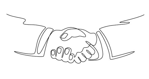 Biznesmeni ściskając ręce. ciągłe rysowanie linii ludzi biznesu spotkanie uścisk dłoni, współpraca partnerska, koncepcja wektora partnerstwa. mężczyzna mający umowę lub umowę w biznesie, podpisujący umowę