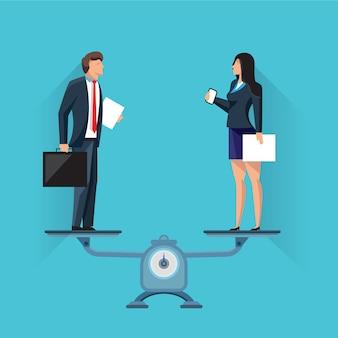 Biznesmeni stoi dalej ważą w równowadze