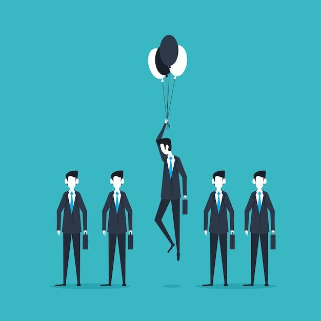 Biznesmeni stojący i latający