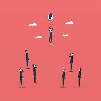 Biznesmeni stojący i pływający