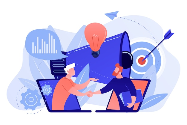 Biznesmeni uścisk dłoni z laptopów i megafonu. współpraca i komunikacja, korporacyjna i kooperacyjna koncepcja biznesowa na białym tle.