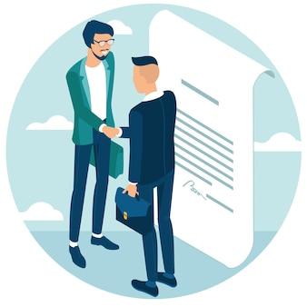 Biznesmeni uścisnęli sobie dłonie po negocjacjach, doszli do porozumienia i podpisali umowę uściskiem dłoni. płaska konstrukcja izometryczna koncepcja projektowania i prezentacji witryny internetowej i aplikacji.