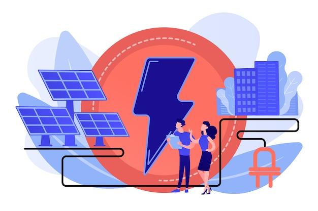 Biznesmeni używają paneli słonecznych do produkcji energii elektrycznej dla miasta