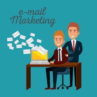 Biznesmeni w biurze z ikonami marketingu e-mail