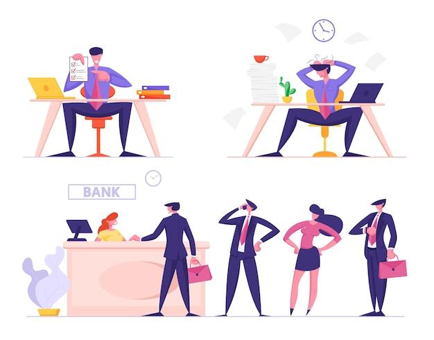 Biznesmeni w różnych sytuacjach życiowych stoją w kolejce do banku w celu uzyskania usług bankowych