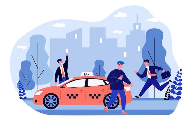 Biznesmeni walczą o taksówkę.