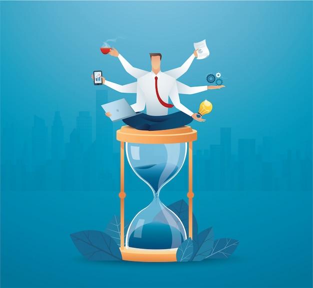 Biznesmeni wielozadaniowość na klepsydrze. koncepcja ciężkiej pracy