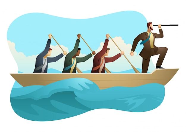 Biznesmeni wiosłuje łódź na nieprzyjaznej wodzie