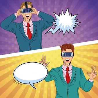Biznesmeni wirtualnej rzeczywistości pop-artu