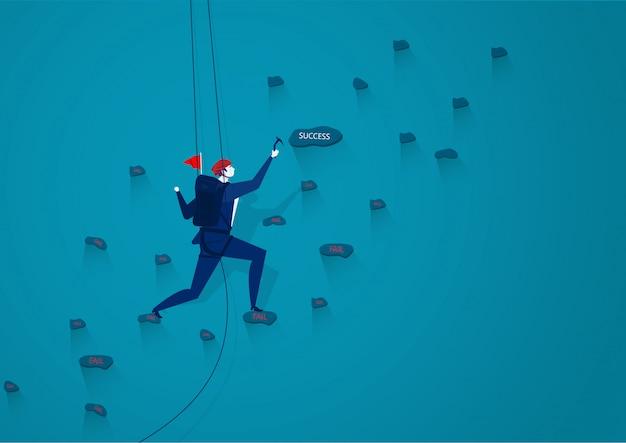 Biznesmeni wspinają się na górę liną, aby przesłać ilustrację sukcesu