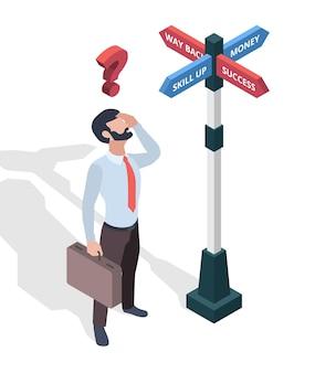 Biznesmeni wybierający miejsce docelowe. kierunek strzałki ścieżka człowiek patrząc na szyldy wektor izometryczny koncepcja. sposób przeznaczenia ilustracji, wybór wyzwania biznesowego