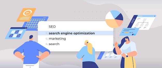 Biznesmeni wybierający seo w pasku wyszukiwania na ekranie wirtualnym optymalizacja dla wyszukiwarek internetowych koncepcja sieci poziome portret ilustracja