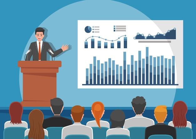 Biznesmeni wygłaszający przemówienie lub prezentujący wykresy na tablicy w sali konferencyjnej. koncepcja seminarium biznesowego i prezentacji.
