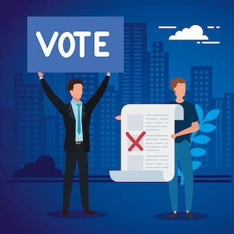 Biznesmeni z głosowaniem tworzą w pejzażu miejskim