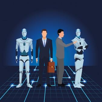 Biznesmeni z humanoidalnym robotem