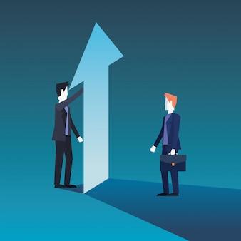Biznesmeni zespalają się z pieniężnym wzrostowym strzała