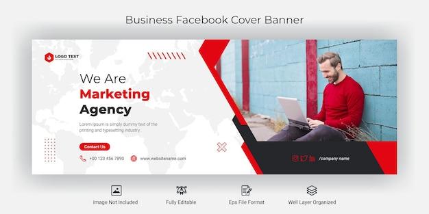 Biznesowa agencja marketingowa szablon banera okładki na facebooku