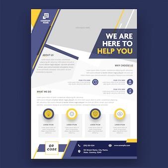 Biznesowa broszurka, szablon lub ulotka projekt dla reklamowego pojęcia.