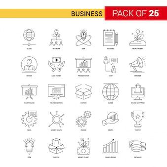 Biznesowa czarna linia ikona - 25 zestaw ikon konturu biznesowego