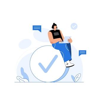 Biznesowa dziewczyna za pomocą laptopa siedzącego na ogromnym znaczniku wyboru zrobionej koncepcji